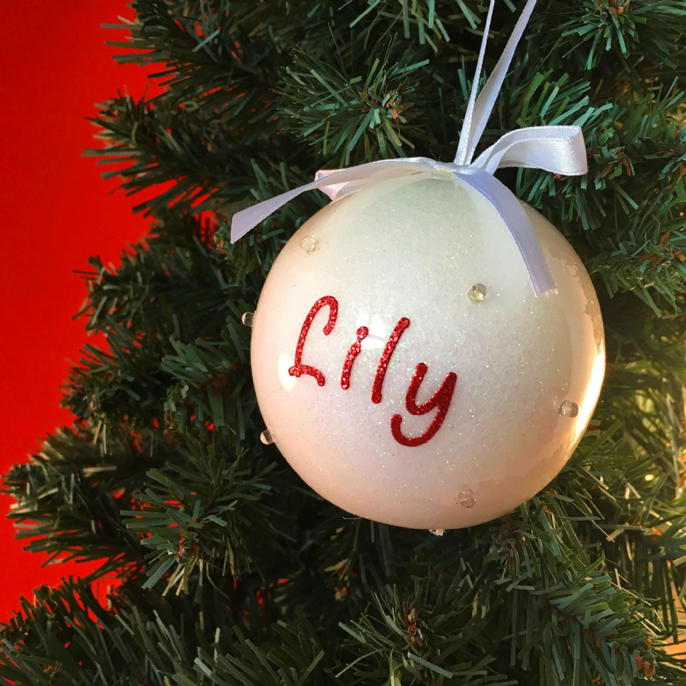 Bauble - White with LED Lights - Personalised